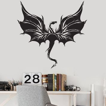 Vinyl Wall Decal Beautiful Dragon Wings Fantasy Teen Room Stickers Mural Unique Gift (ig5164)