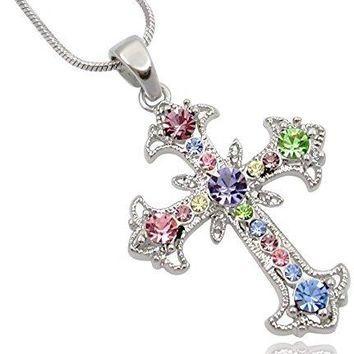 SHIP BY USPS: Pastel Yellow, Blue, Pink, Purple, Green Crystal Cross Silver Tone Necklace women Teens Girls