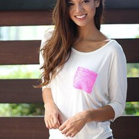 White Top with Sequined Pocket