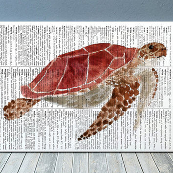 Turtle print Marine art Beach house poster Watercolor print RTA1967