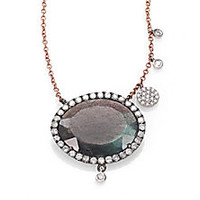 Meira T - Labradorite, Diamond & 14K Rose Gold Pendant Necklace - Saks Fifth Avenue Mobile