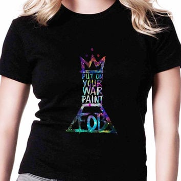 Fall Out Boy Lyrics Put On Your War Paint TV Womens T Shirts Black And White