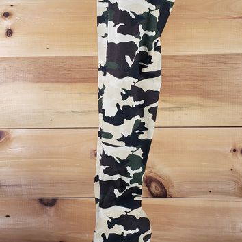 Lola Camo Print Stretch Stocking High Heel Thigh Boot