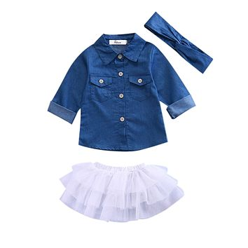 3PC Girls Denim Top With Matching Headband and White Skirt