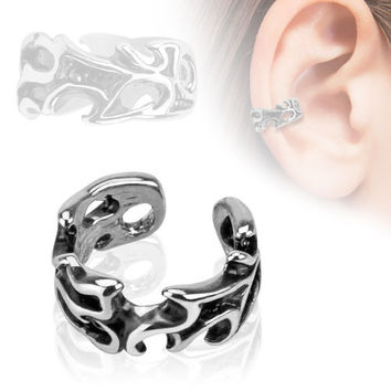 Tribal Ear Cuff Silver Clip on Non Piercing Body Jewelry Rhodium Plated Fake Piercing Jewelry