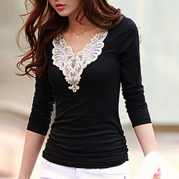 Short Sleeves Lace Collar Tops