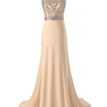 Tidetell 2016 Long Prom Dress with Luxurious Beading Chiffon Evening Gown