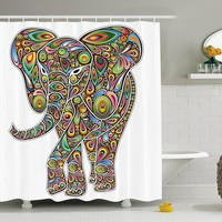 Psychedelic Hippie Elephant Shower Curtain