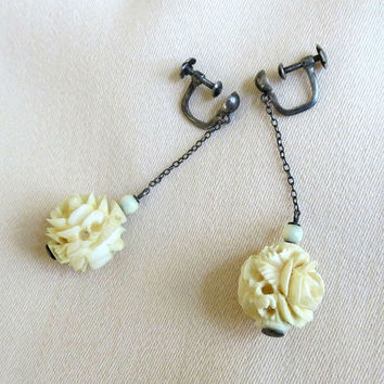 Hand Carved Faux Ivory Roses Dangle Earrings Vintage 1930's Sterling Silver