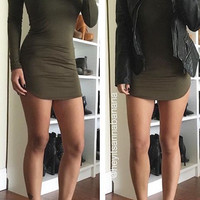 Mock Neck Bodycon Dress - Olive *SPECIAL OF THE DAY*