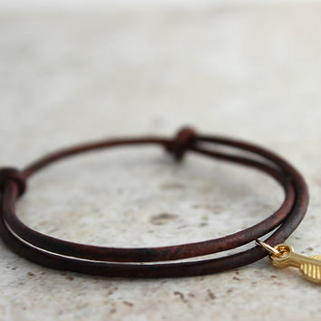 Yoga Bracelet Adjustable Leather Bracelet Yoga Jewelry Gold Filled Feather Jewelry Simple Causal Everyday Bracelet for Her, Gifts Under 20