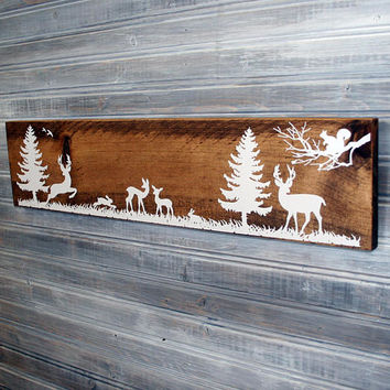Woodland Deer Forest Wood Sign, Rustic Wood Nursery Decor, Baby boy gift, Ourdoors Cabin Scene, Gift for Dad, Man Cave, Tree and Deer Sign