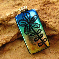 Dichroic Fused Glass Pendant Hand Etched Fused Glass by GlassCat