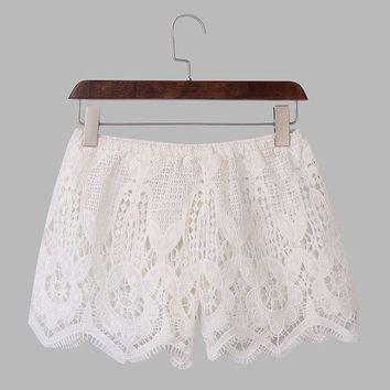 Hot Shorts Summer Style  2016 Fashion Women Casual Lace Crochet Hollow Out  Elastic Waist Solid Beach Hot  Plus SizeAT_43_3
