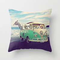 NEVER STOP EXPLORING THE BEACH Throw Pillow by Monika Strigel