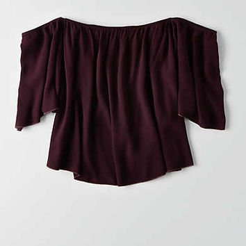 Don't Ask Why Off-The-Shoulder Crepe Tee, Wine