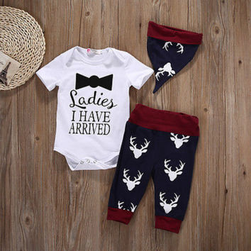 3PC Xmas Newborn Baby Boys Girls Tops Romper Pants Hat Outfits Christmas Clothes
