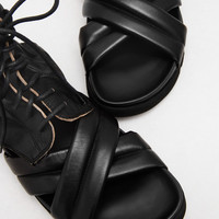 Totokaelo - Ann Demeulemeester Glace Nero Washed Lace Up Sandal - $780.00