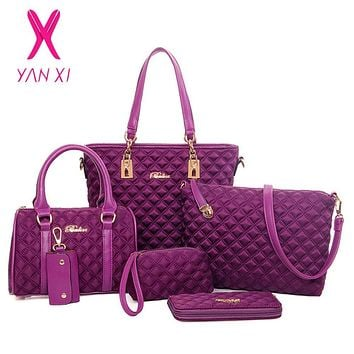 YANXI Factory outlets bolsos mujer Classic luxury 6 sets fashion Diamond Lattice women Oxford cloth messenger shoulder bags