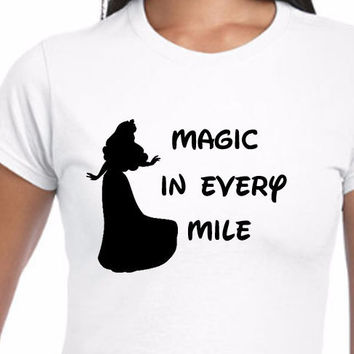 Disney Magic In Every Mile Belle Beauty and the Beast T-Shirt (Multi-Color Choices) Womens T-Shirt