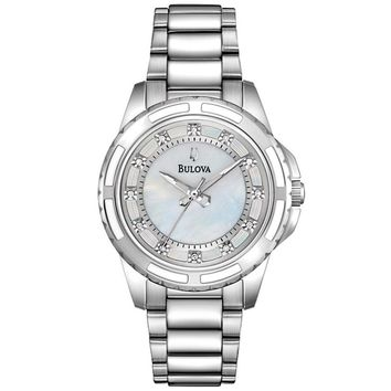 Ladies' Bulova Two-Tone Diamond White Mother-of-Pearl Dial Watch