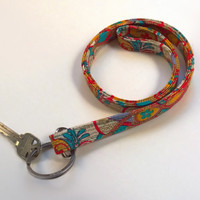 Indian Print Lanyard / Indian Inspired / Lanyard Keychain / Shimmering Gold / Key Lanyard / ID Badge Holder / Red / Turquoise