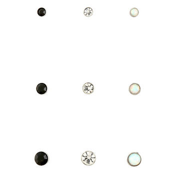 Steel Black Clear & Opal Nose Stud 9 Pack