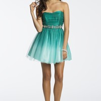 Strapless Ombre Dress with Mesh Skirt