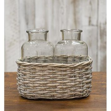 Large Milk Bottles in Wicker Basket