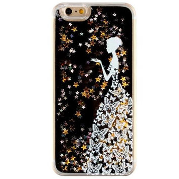Unique Quicksand Twinkle Lace Girl Case Cover for iPhone 5s 5se 6 6s Plus Free Gift Box 47