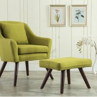 Mid Century Modern Design Armchair Chair Footstool Living Room Furniture Wooden Legs Bedoorm Accent Chair with Stool Ottoman