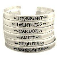 Divergent Inspired - Faction (Choose One) - Divergent, Dauntless, Abnegation, Amity, Candor or Erudite - A Hand Stamped Aluminum Bracelet