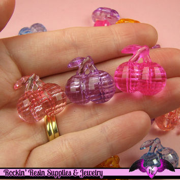 15 pcs Faceted CHERRIES Mixed Kitsch Acrylic Beads or Buttons 21 x 20 mm