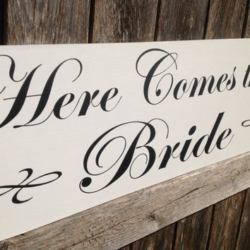 Here Comes The Bride - One sided - Ring Bearer sign, Flower girl sign, Disney Wedding Sign, Wedding Photo Prop