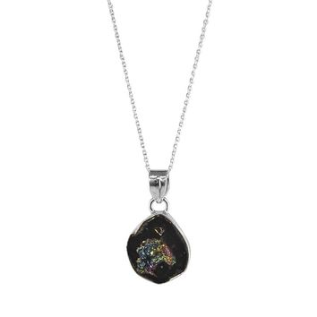 Druzy Quartz Raw Crystal Pendant Necklace in Sterling Silver