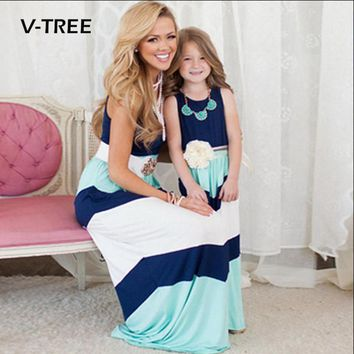 V-TREE Summer Mother Daughter Dresses Family Matching Outfits Mother And Daughter Striped Long Dress Family Clothing