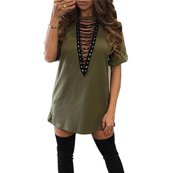 S-3XL Lace Up V -Neck Shirt Dress Summer Women Short Sleeve Loose Dresses Vestidos Sexy Casual Dress Shirts Vestido Mujer GV529