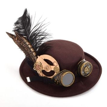 1pc Men/Women Steampunk Hat Gear Feather Glasses Gothic Vintage Brown Hat Victorian Cosplay