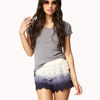 Gone Boho Crocheted Ombré Shorts
