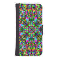 Green and Rainbow Mandala Pattern Phone Wallet Case