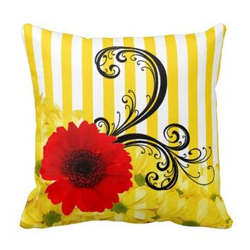 Yellow and White Stripe Floral Pillow