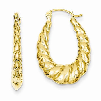 14k Yellow Gold Scalloped Twisted Hoop Earrings