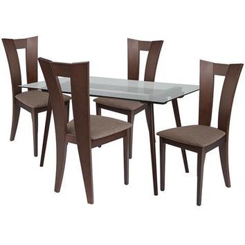 Parlier 5 Piece Espresso Wood Dining Table Set with Glass Top and Slotted Back Wood Dining Chairs - Padded Seats
