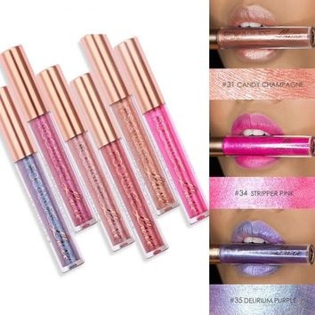 Sexy Pearly Color Lip Gloss Makeup Glitter Lipstick Liquid Shimmer Metallic Lip Gloss Makeup Beauty Liquid Lipstick H7JP