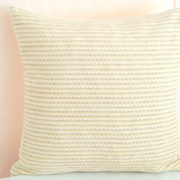 Woven loom pillow sham – Knitted velvet cushion cover – 20x20 pillow cover – White, beige, green throw pillow – Sofa couch indoor homedecor