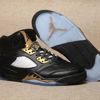 Nike Air Jordan 5 Retro Black/gold Men Sneaker Shoe Size Us 7 13 | Best Deal Online
