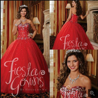 Cheap Girl's Red princess ball gown Dress prom gown Strapless sweet 16 puffy sparkly Tulle formal prom dresses