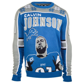 Detroit Lions Calvin Johnson #81 Big Logo Ugly Sweater Sizes S-XXL w/ Priority Shipping
