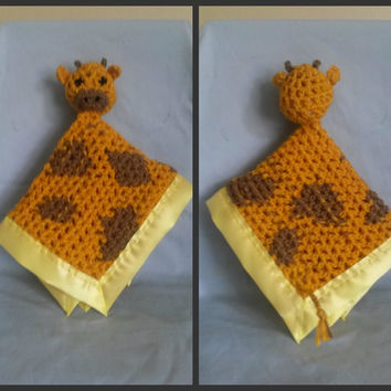 Giraffe Security Blanket (crochet, character, baby, satin, tail, head, blankie, travel, mini)