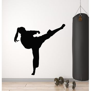 Vinyl Wall Decal Martial Arts Sport Motivation Girl Fight Stickers Mural (g707)